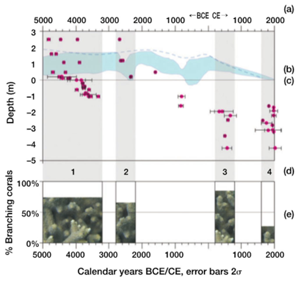 Age depth and community composition of coral death assemblages from Moreton Bay