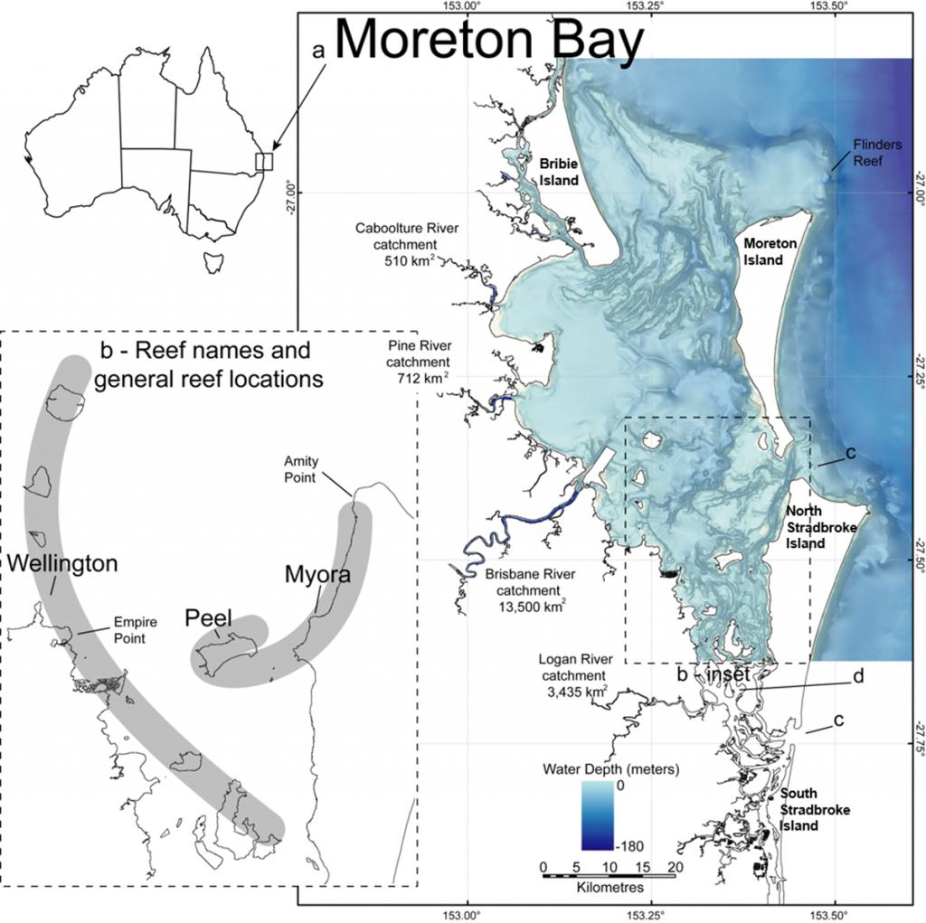 Bathymetry of Moreton Bay and areas of major Holocene reef growth