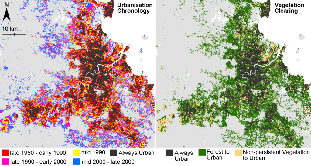 Decadal patterns in urbanisation in SEQ 1988-2013 and corresponding clearing