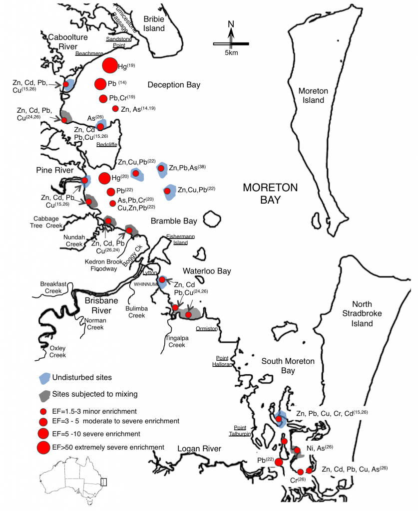 Distribrution of trace metal enrichment factors in sediment in Moreton Bay