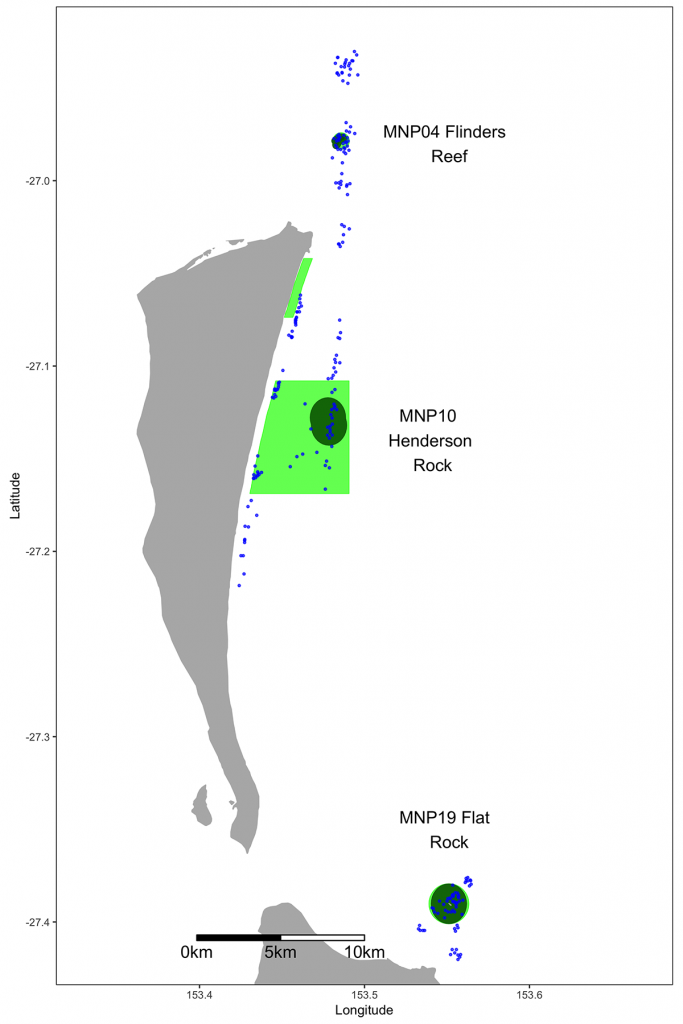 BRUV survey sites in northern offshore section of Moreton Bay Marine Park