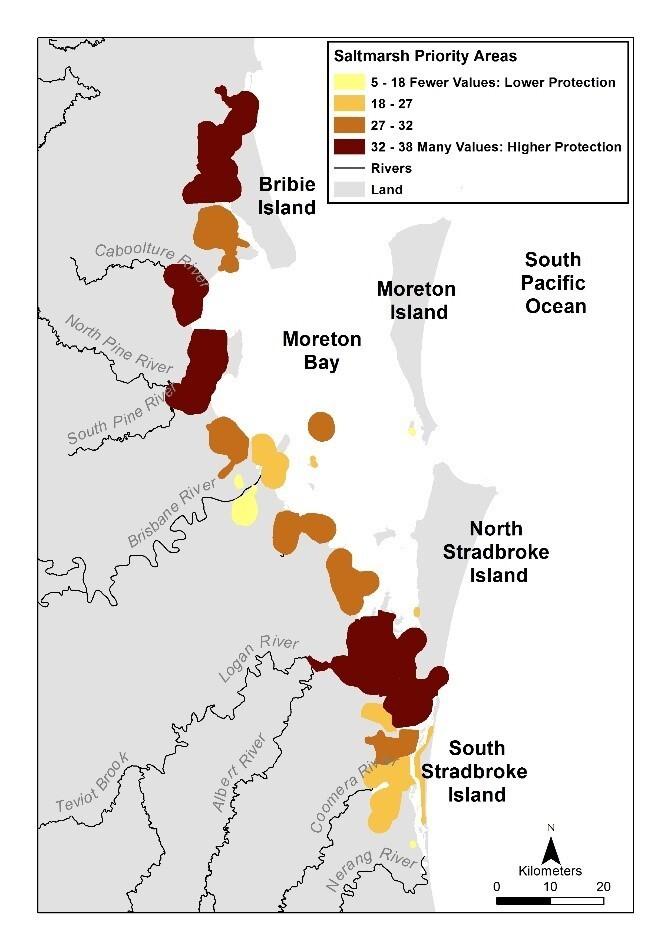 Saltmarsh priority areas of Moreton Bay