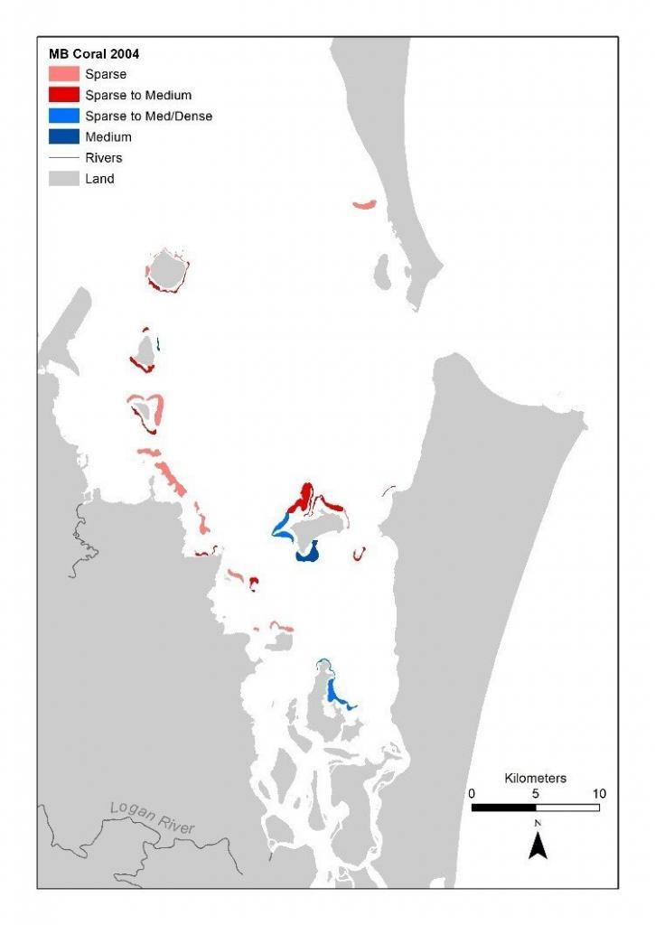 Location of coral in Moreton Bay mapped 2004