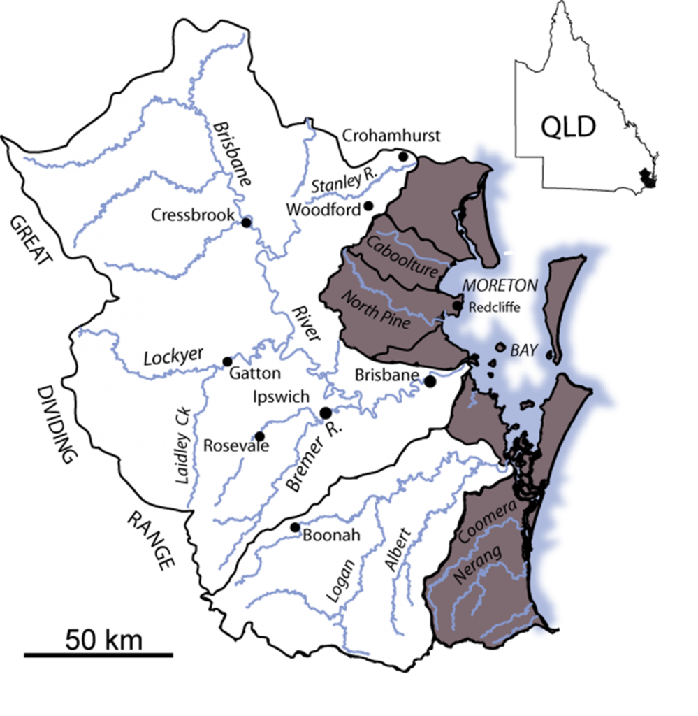 Major contributin river basins in Moreton Bay