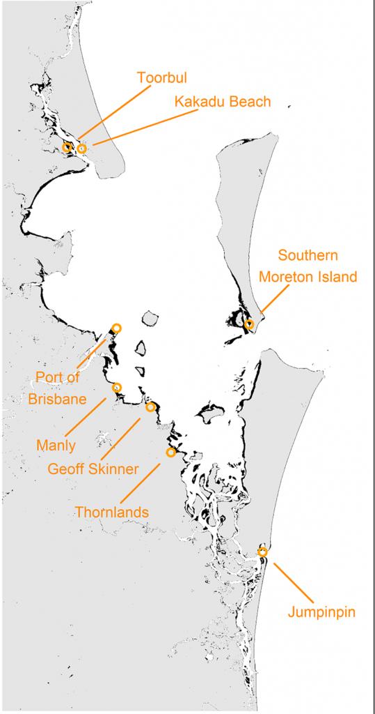 Major migratory shorebird roosting sites in Moreton Bay
