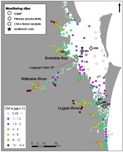 Mean cholorphyll a concentrations in Moreton Bay 2006-2016