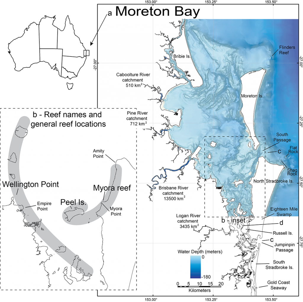 Overview of Moreton Bay bathymetry with areas of majoy Holocene reef growth
