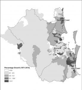 Saunders1a Population growth of Moreton Bay Catchment 1991 to 2015