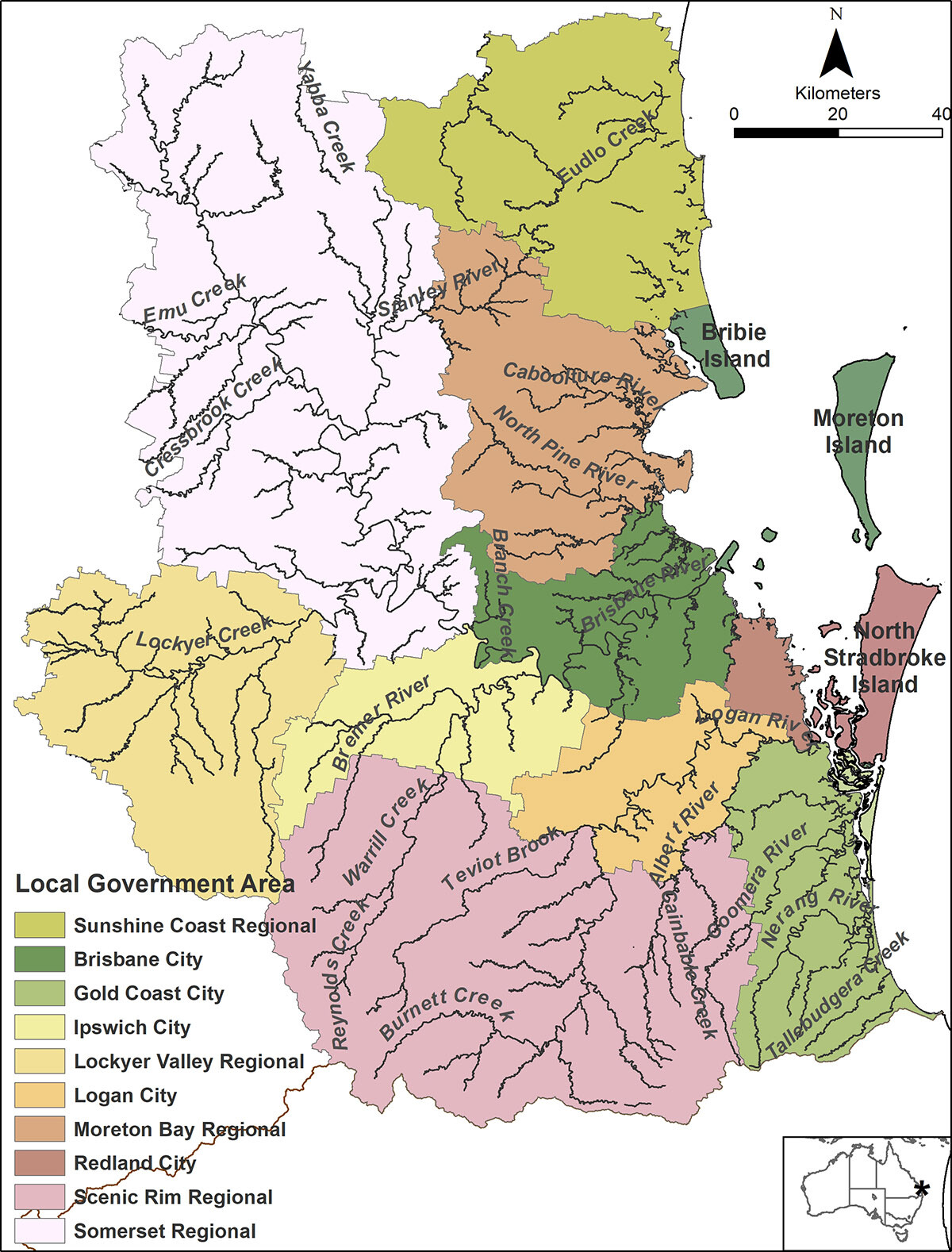 Moreton Bay catchment area with Local Government Areas