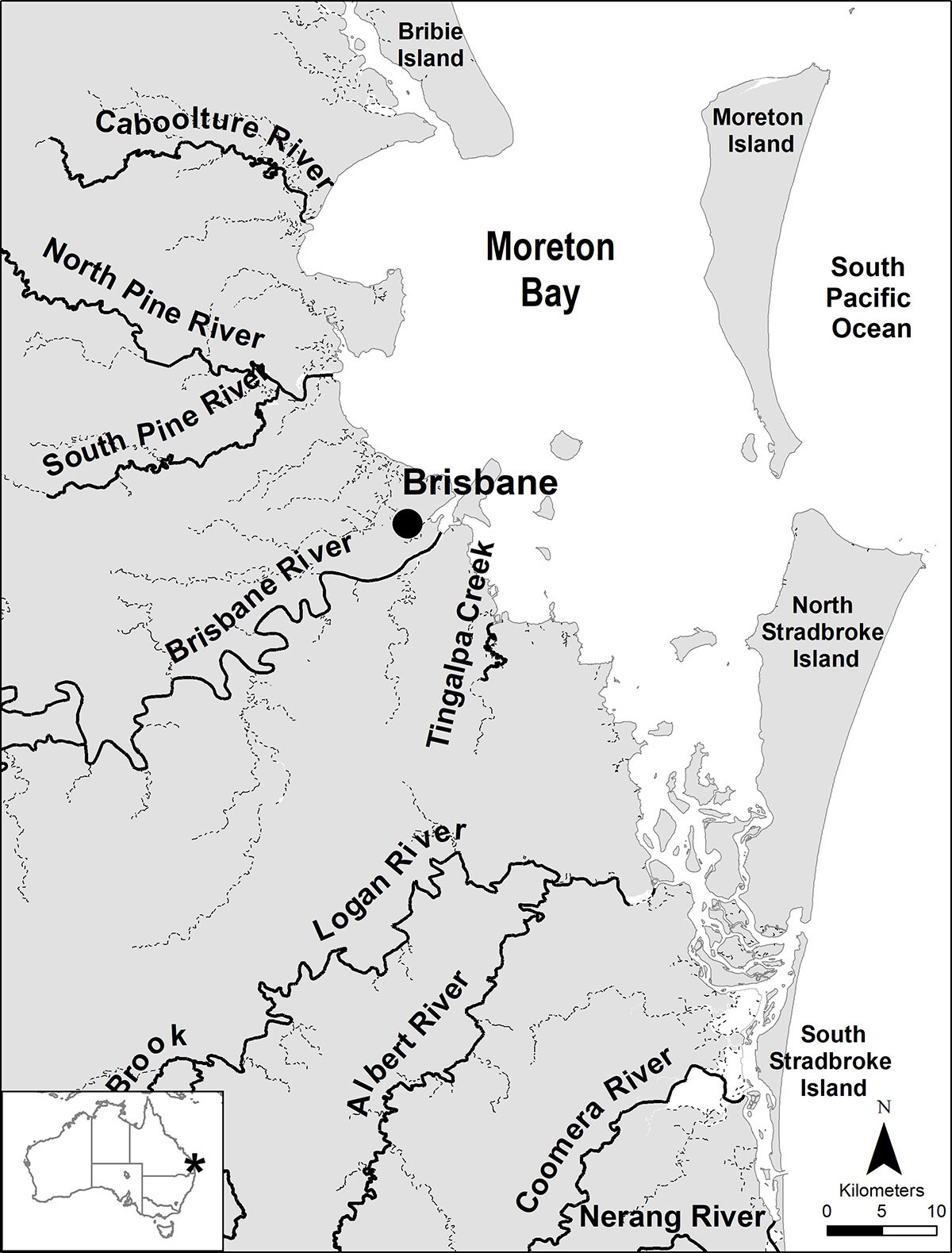 Moreton Bay region with major rivers flowing into the Bay