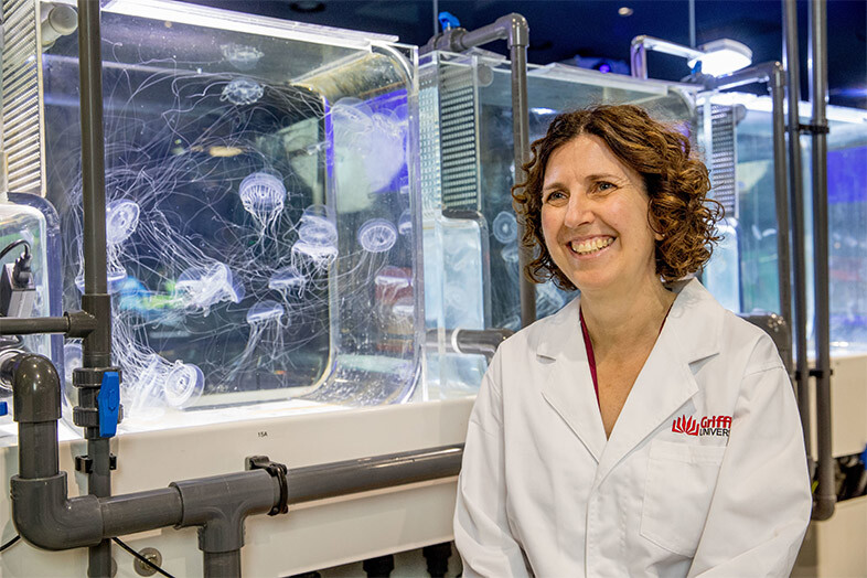 Professor Kylie Pitt at the Griffith Sea Jellies Research Laboratory