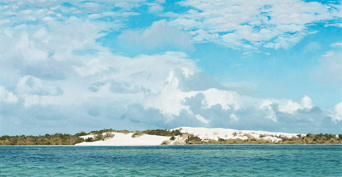 Ralph Wilson, Clouds, Mid-afternoon, Moreton Island, Oil on board (60x122cm) 2017